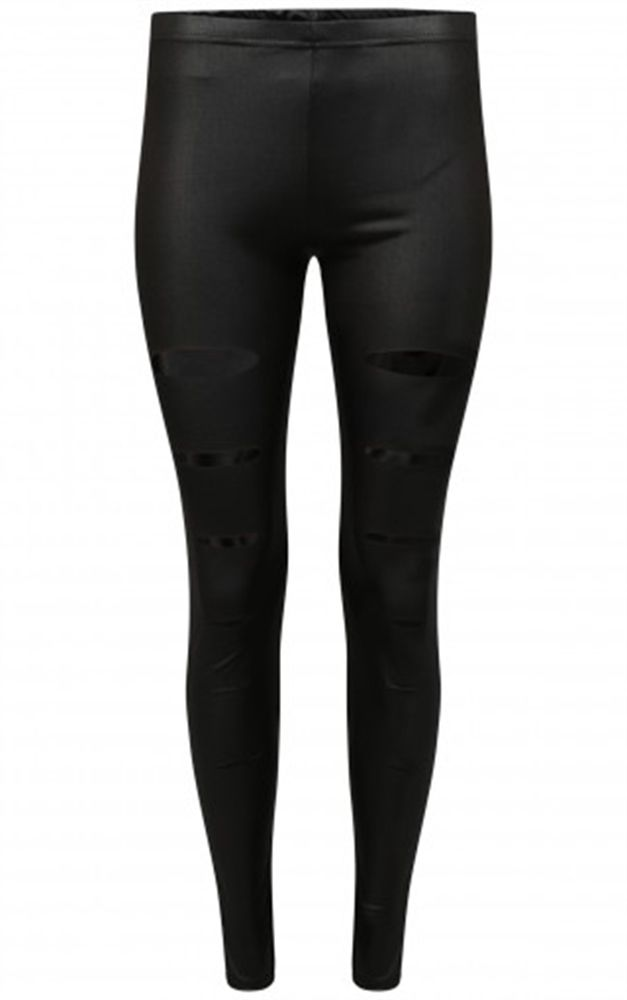 Gothic Attitude Wet Look Ripped Black LeggingsBeautiful black leggings from Gothic Attitude! These gorgeous wet look leggings are super comfortable and feature a series of rips down the front of the legs....