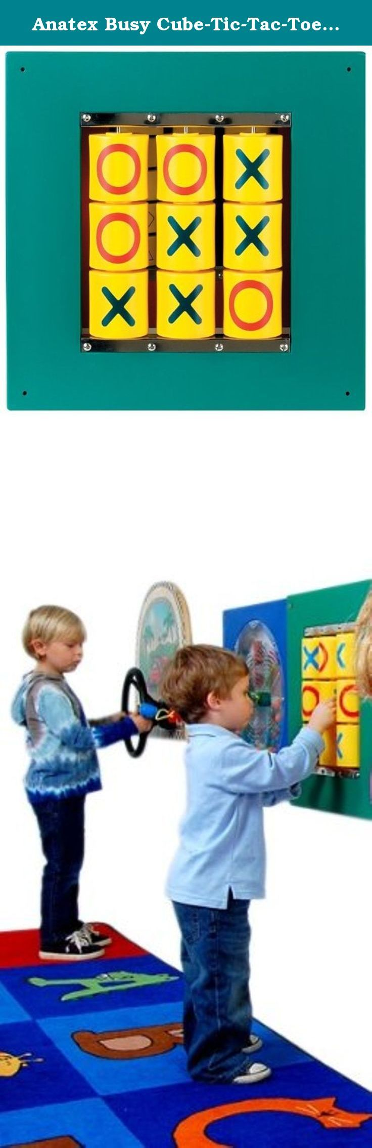 """Anatex Busy Cube-Tic-Tac-Toe Wall Panel. This children's classic offers great traditional fun in a durable and easy care panel game. The panel can be wall mounted for use in a playroom, child care setting or child's bedroom, or it can serve as part of a busy cube or play table for your child. Tic-tac-toe is great practice for logical thinking, and turn taking for your kids. The 20"""" by 20"""" Childrens Tic-Tac-Toe Wall Panel displays 9 yellow easy turn 'X' and 'O' cylinders on a soothing dark..."""