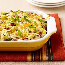 Creamy, cheesy Mexican food is irresistible. This one-dish casserole is vegetarian feast. #vegetarian