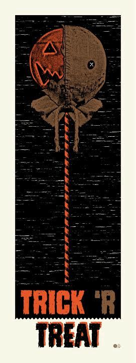 brokehorrorfan: Chris Garofalo's Trick 'r Treat piece is available from Bottleneck Art Gallery. The glow-in-the-dark print measures 9x24. Only 80 exist and they're priced at $30.