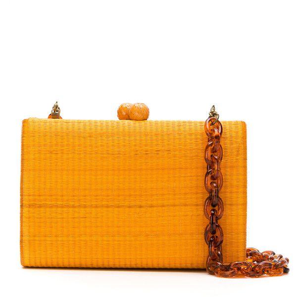 Serpui clutch bag (2,210 MYR) ❤ liked on Polyvore featuring bags, handbags, clutches, brown, straw purse, brown handbags, straw clutches, orange handbags and structured handbags