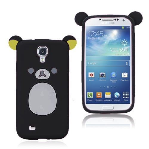 Cute Bear (Sort) Samsung Galaxy S4 Deksel