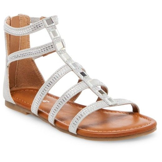 Add a pop of glam to her collection with these Girls' Latia Jeweled Sandals by Cat & Jack™ in Silver. Jeweled accents bring eye-catching style to these striking girl's sandals. Plus, they're guaranteed. Cat & Jack is made to last, but if anything doesn't, you can return it up to 1 year later with your receipt.