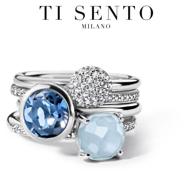 MIX & MATCH Blue is the colour that will go with any look at any event. Mix & Match with the endless possibilities of Ti Sento's stacking rings! #tisento #tisentomilano #ring #jewellery #blue #silver #mixandmatch