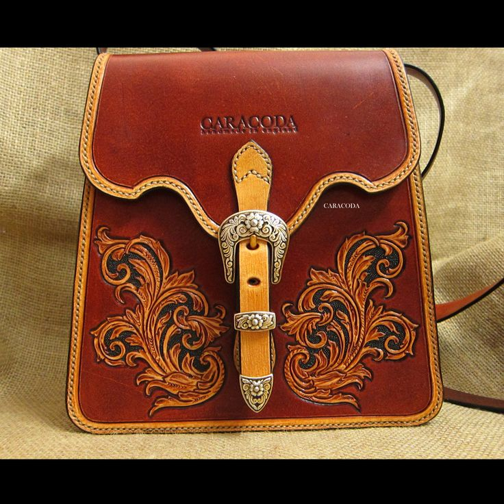 Antique vintage style leather bag tooled