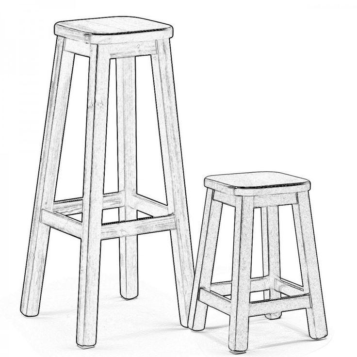 NIBBIO LG. Gli sgabelli Nibbio sono degli sgabelli in stile rustico senza schienale in legno di pino.