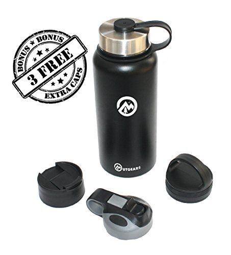 4 in 1 Vacuum Insulated Double Wall Water Bottle 18/ 8 Stainless Steel by Outgears -24 Hour Temperature - 3 FREE Extra Lids - 1 YEAR GUARANTEE * Startling review available here  : Backpacking gear