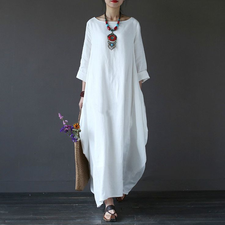 Cotton Linen Plus Size Dresses For Women 3xl 4xl 5xl Loose Maxi Dress White Red Blue Long Sleeve Boho Long Dresses Oversize 2017-in Dresses from Women's Clothing & Accessories on Aliexpress.com | Alibaba Group
