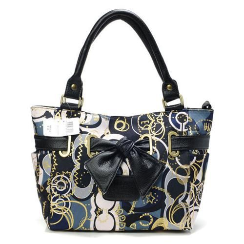 Cheap And Fashion Coach Poppy Bowknot Signature Medium Navy Totes AVP Are Here! find more women fashion ideas on www.misspool.com