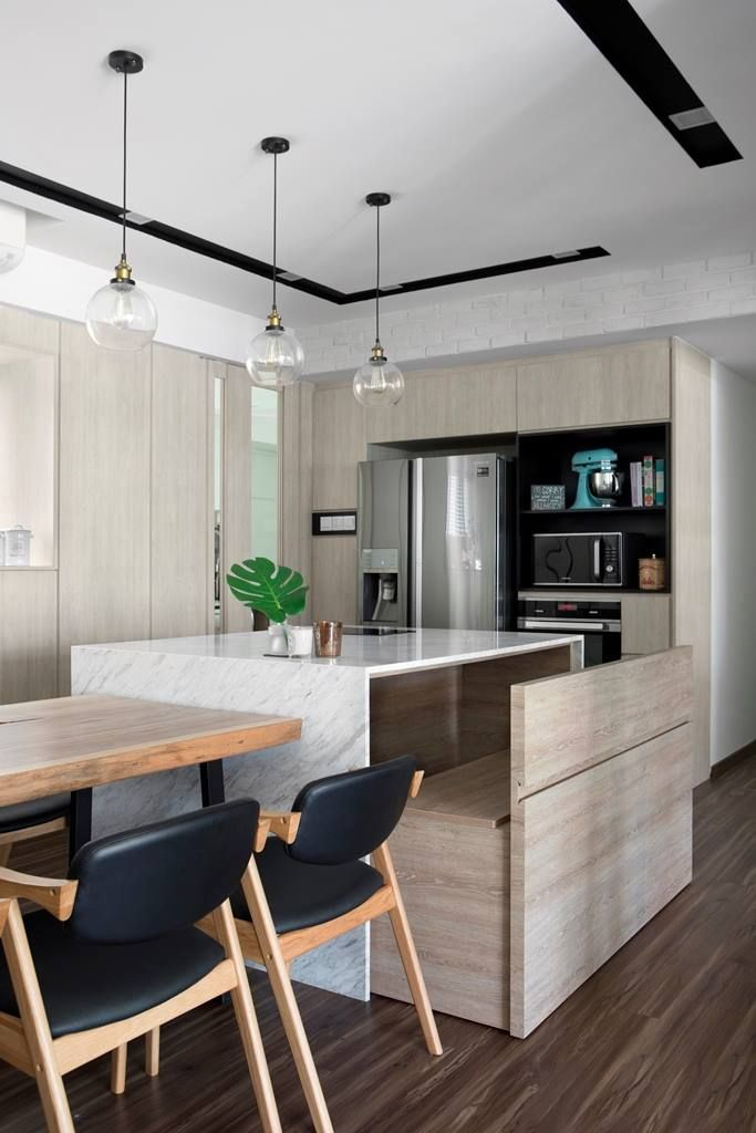 19 Cosy Eat In Kitchens In Singapore Homes Home Decor Kitchen Kitchen Island Bench Farmhouse Style Kitchen