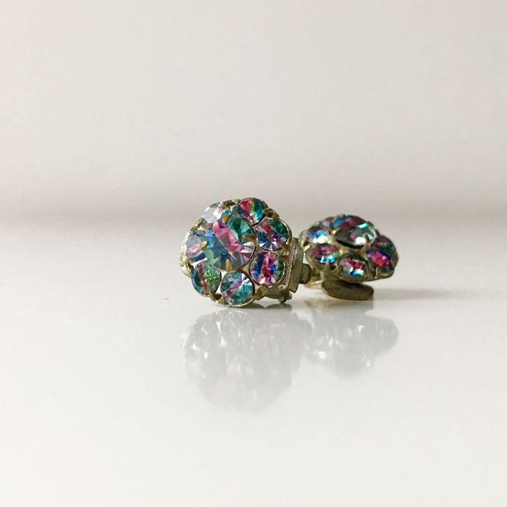Vintage clip on glamorous rhinestone earrings. Rainbow rhinestones. by ReOSL on Etsy