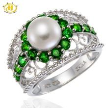 2016 New Freshwater Pearl & Chrome Diopside Solid 925 Sterling Silver Ring For Women Fine Jewelry(China (Mainland))
