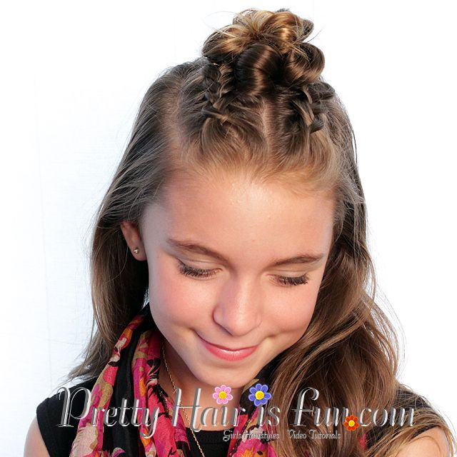 Pretty Hair is Fun: Dutch Braid Top Knot Bun / hair/ hairstyles/ hair half up / short hairstyles ...