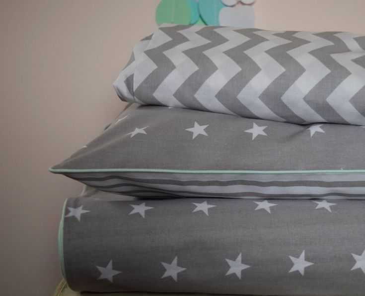 Cot Bed Duvet Cover Set & Fitted Sheet. Colour: White and Grey, Stars and Stripes on the reverse side, mint piping. This cot bed set is made from very good quality 100% cotton fabric. Includes one duvet cover ,one pillowcase and fitted sheet. | eBay!