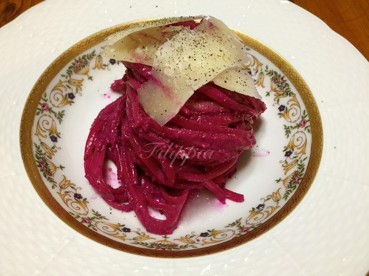 Linguini με pesto παντζάριου