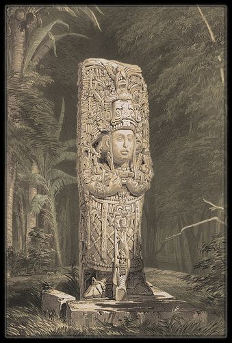 statue maya,lithographie,stele de Copan