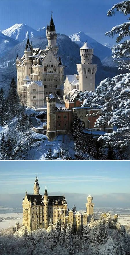 Neuschwanstein Castle: the Classic Fairytale's Castle - Bavarian Alps of Germany. Appearing through the mountaintops like a misty mirage is the world's most famous castle, and the model for Disney's citadel, fairy-tale Neuschwanstein Castle.