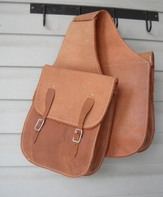 Roughout Leather Western Saddle Bag