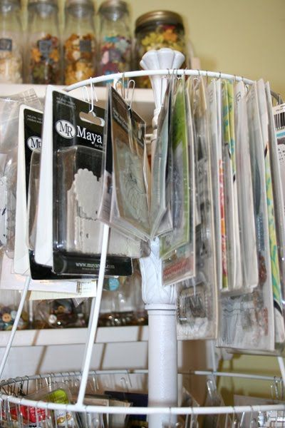 Paper crafting / Scrapbooking storage using paperclips and a lampshade! MUCH cheaper than the store bought version of this. Check thrift stores, online sales, yard sales, your house!!