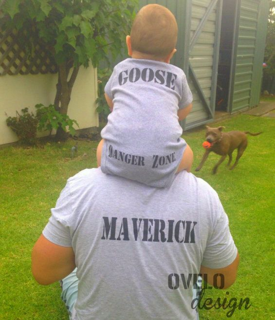 Customizable Daddy and Me Maverick and Goose on Back by OVELO
