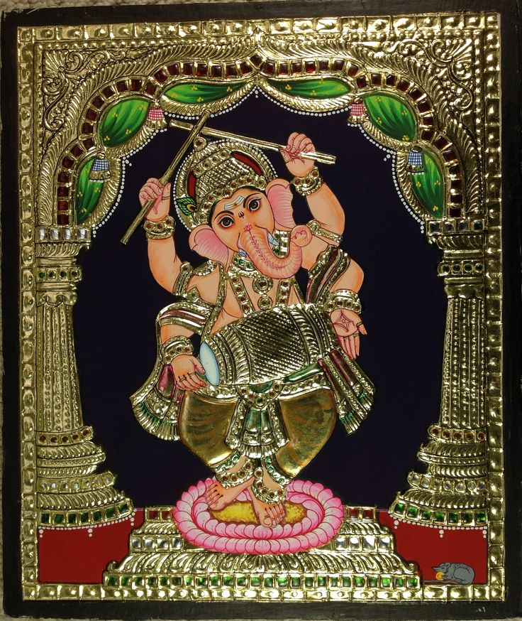 Ganesh Tanjore Art Handmade South Indian Religious Thanjavur Relief Painting. Your decor will bear a sophisticated and cultured look when adorned with this striking Tanjore painting celebrating Lord Ganesh in classical musical & dance postures. Rich and intricate, this compact composition is also bright, colorful and breathtakingly beautiful.