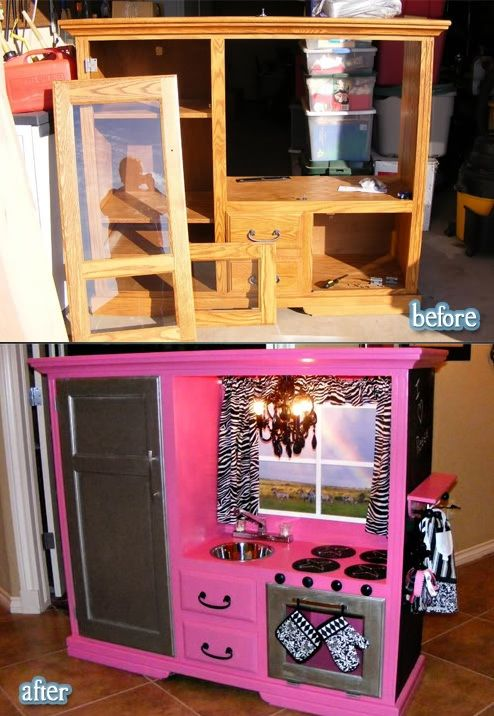 Recycle old furniture. Make an old tv stand into a kitchen set. Omg so cool. Would have never thought to do this. This makes an even cooler kitchen set for kids than those stupid plastic ones.