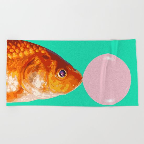 """Lay out like a pro with this super comfy, oversized and unique artist-designed Beach Towel. The soft polyester-microfiber front and cotton terry back are perfect for, well, drying your front and back. This design is also available as a bath and hand towel. Machine washable.  Towel Dimensions: 74""""x37"""" #towel #beachtowel #decor #homedecor #graphic-design #digital #bw #contrast #pop-art #stars #universe #eye #fish #fishes #animal #orange #green #pink #minimal #concept"""