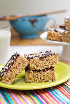 Almond Butter Rice Crispy Treats | Oh She Glows; SO yummy - come together so quickly and are ready within 5 minutes! I use peanut butter instead of the almond butter and don't necessarily even need the chocolate coating. Used a mix of brown rice syrup and coconut nectar (made an amazing caramel flavour). Love it!