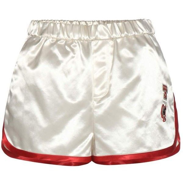Tommy Hilfiger Satin Shorts With Appliqué ($255) ❤ liked on Polyvore featuring shorts, bottoms, short, pants, white, satin shorts, tommy hilfiger, short shorts, white short shorts and white shorts