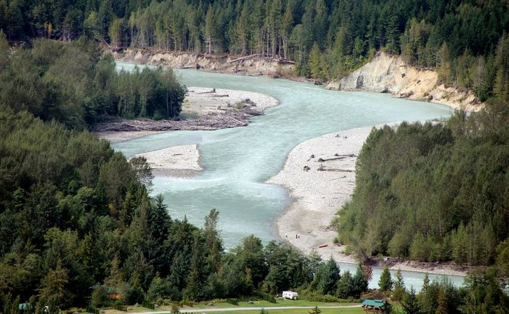 Rip Rap Campground in the foreground - Bella Coola River