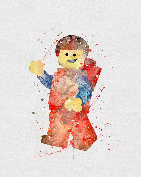 Lego Man Watercolor Art