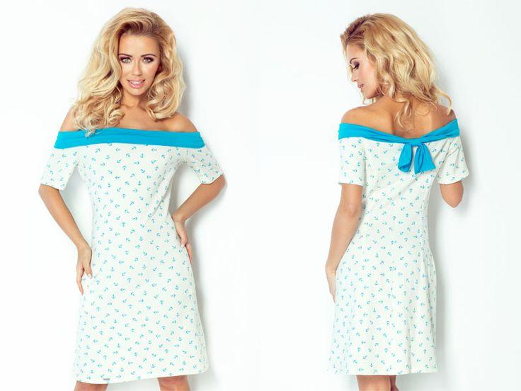 krásne krátke voľné šaty na pláž s odhalenými ramenami