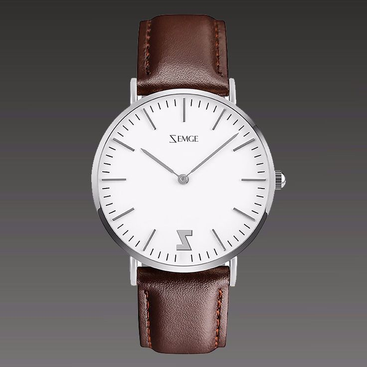 ZC0501 silver case / light brown leather strap 40 mm and 36 mm by Zemge