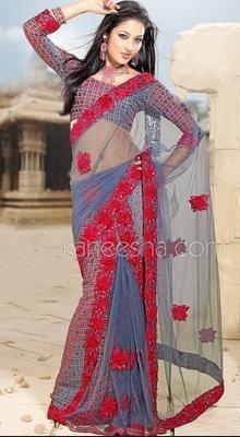 Ethnic Steel Blue Embroidered Saree