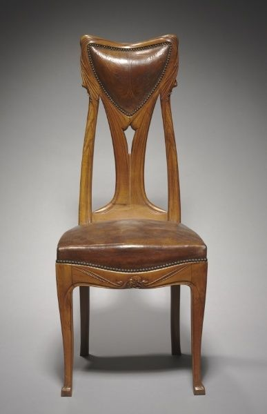 Hector Guimard (French, 1867-1942), Chair, c. 1907, pearwood with tooled leather back and seat,