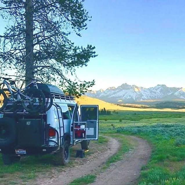 Sportsmobile with Aluminess gear out adventuring.  Becky Stover  .  #aluminess #roofrack #ladder #bumpers #adventurevan #adventuremobile #vanlife #bikerack #sportsmobile #4x4van #vanconversion #campervan #fordvan
