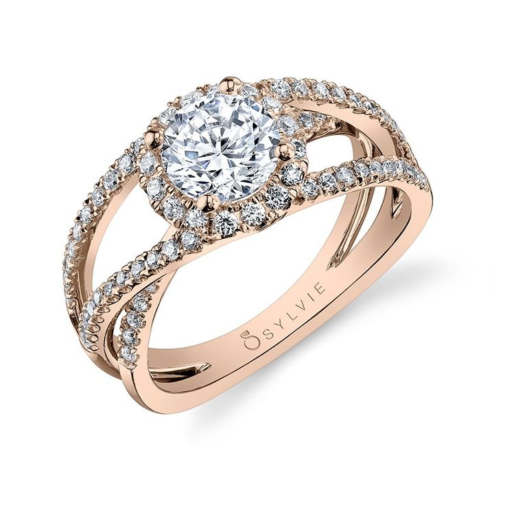 Bold Crisscross Split Shank Rose Gold Diamond Engagement Ring - This bold diamond  engagement ring features a 1 carat round center with a total of carats in  ...