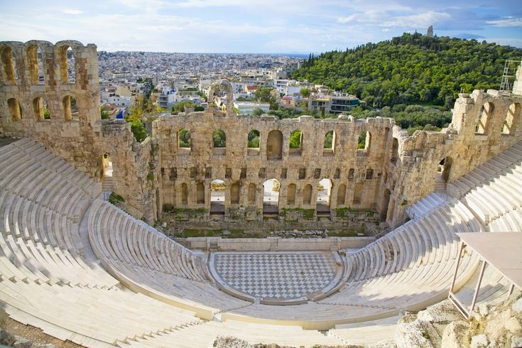 The fabled Odeon of Herodes Atticus dominates the western slope of the Acropolis rock. It was the third odeon constructed in ancient Athens after Pericles' Odeon and Agrippa's Odeon in the ancient Agora. Its construction around the second century AD was funded by Tiberius Claudius Herodes...