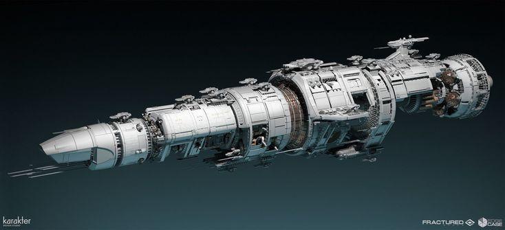 Concept ship: Fractured Space - NASA Flaghsip, karakter design studio on ArtStation at https://www.artstation.com/artwork/fractured-space-nasa-flaghsip #spaceship #starship