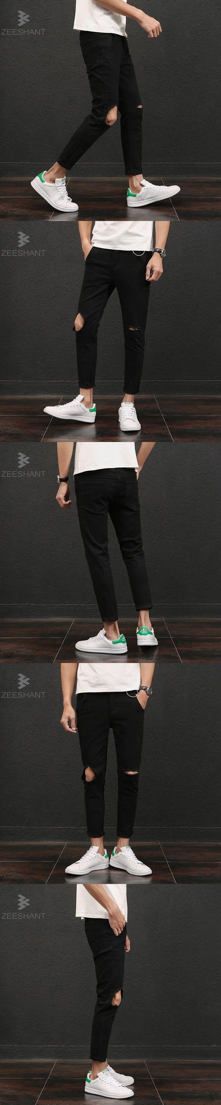 Streetwear Pants 2017 Men's Jeans Ripped Jeans For Men Skinny Distressed Slim Famous Brand Designer Biker Hip Hop Swag Black