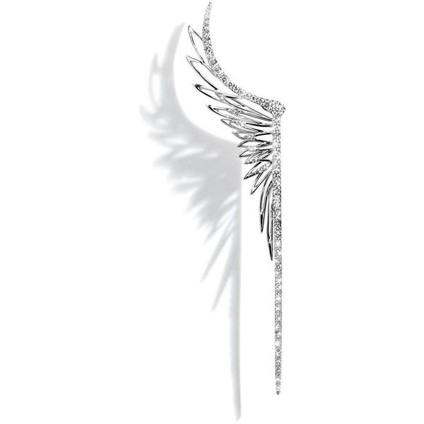 Cristina Ortiz Wings White Gold Ear Cuff ($7,710) ❤ liked on Polyvore featuring jewelry, earrings, accessories, ear cuff earrings, sparkly earrings, earrings jewelry, sparkle jewelry and white gold earrings