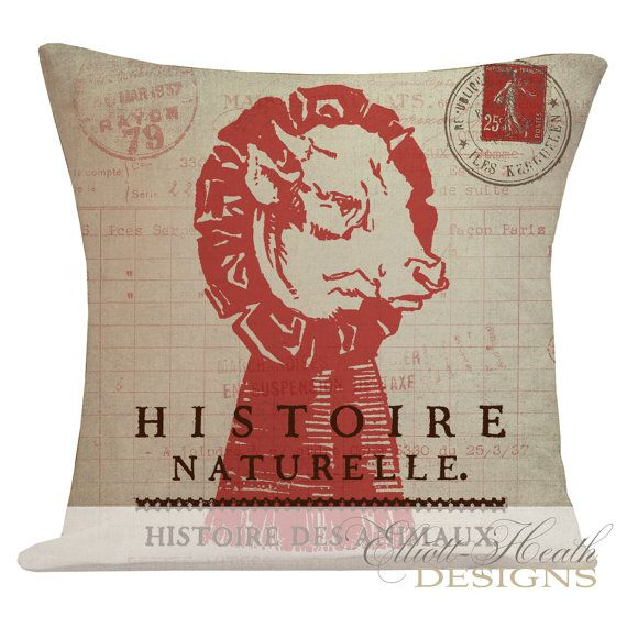 Pillow Cover French Style Farmhouse Burlap Cotton Throw Pillow French Cow Red FR-89 on