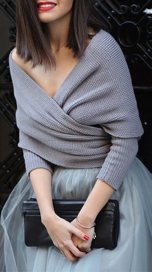 Grey wrap sweater, grey tulle skirt, black clutch, red lipstick and red nails. Perfect for over wedding dress, or a great wedding outfit