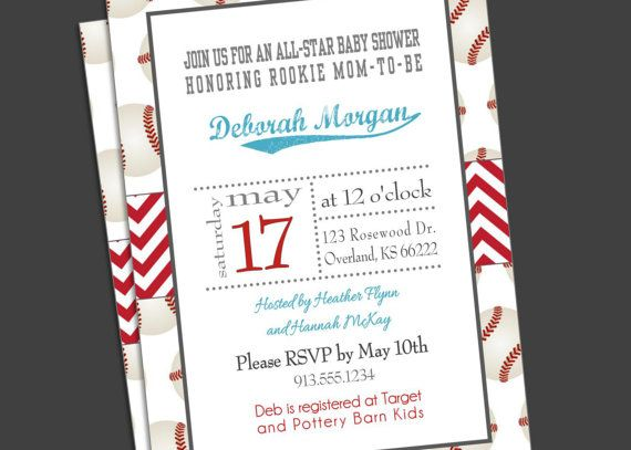 Baby Boy Shower Invitation Baseball Sports by KansasCardstock