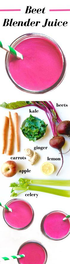 Beets, carrots, apple, kale, celery, lemon, and ginger come together to make a refreshing juice! Benefits of beet juice include detox of the blood, improved mental health, and cancer prevention. Click for this healthy and easy juice recipe you can make in a Vitamix or Blendtec blender. Recipe for blender beet juice found on realfooddiets.com