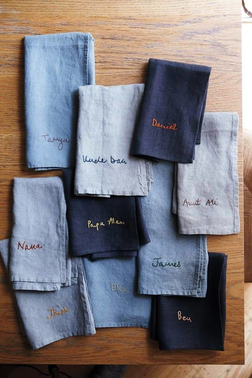 personalized napkins embroidered with each family member's name - I don't do embroidery but the names could be added with fabric pens\markers.