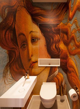 Toilet. Botticelli print. Copper faucet, Vola. Private home Amsterdam: interior design and project management by Heyligers design+projects. www.h-dp.nl