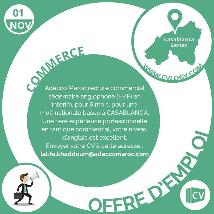 #Adecco #Maroc #commercial #anglophone #intérim #CASABLANCA #anglais  Besoin d'un #CV original ? Découvre notre service #Design_CV: