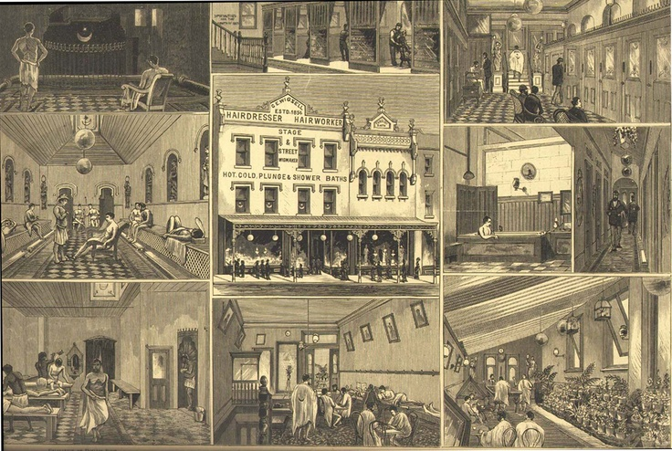 Wigzell's Hairdressers and Turkish Baths, Oxford Street, Sydney. From Illustrated Sydney News, 29 September 1883, Rare Book Collection, Monash University. Taken from, Impact of the Modern: Vernacular Modernities in Australia 1870s-1960s Edited by Robert Dixon and Veronica Kelly