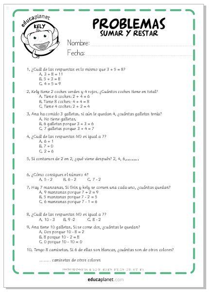 problemas sumas restas primero primaria #sumar #restar #matemáticas #ejercicios